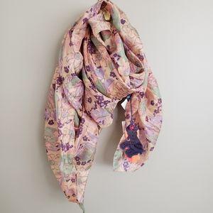 100% Silk Scarf BNWT Floral Pastels